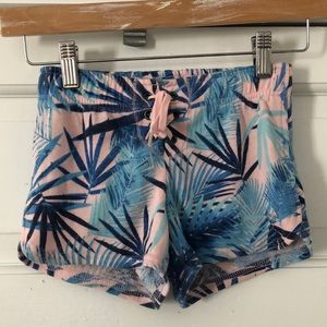 JUSTICE Blue/Pink Tropical Lace Up Sweatshorts 6/7